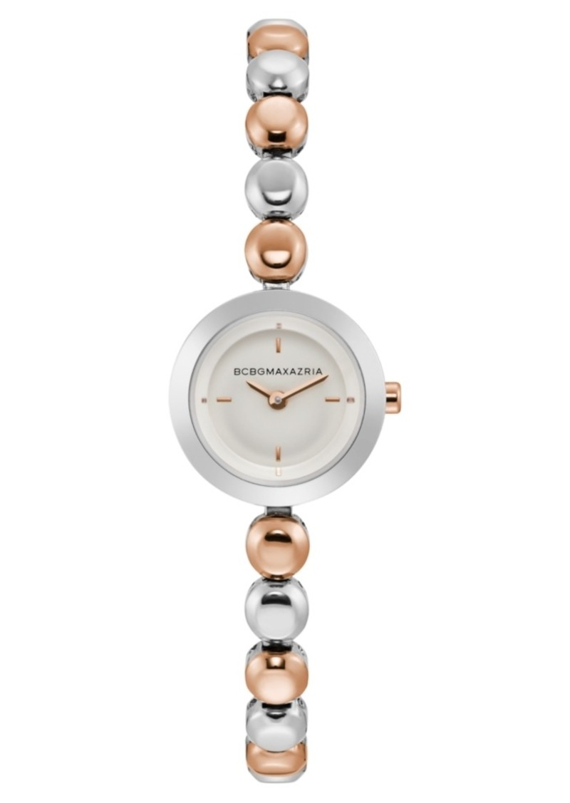 BCBG Max Azria Bcbgmaxazria Ladies Two Tone Rose Gold Bracelet Watch with Silver Dial, 20mm