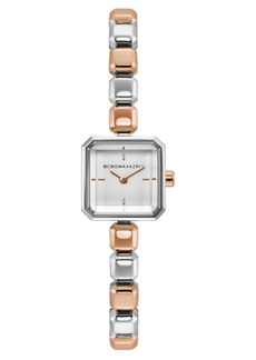 BCBG Max Azria Bcbgmaxazria Ladies Two Tone Rose Gold Bracelet Watch with Silver Square Dial, 20mm