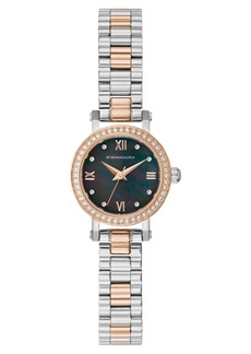 BCBG Max Azria Bcbgmaxazria Ladies Two Tone Rose-Gold Tone Bracelet Watch with Dark Mop Dial, 24mm