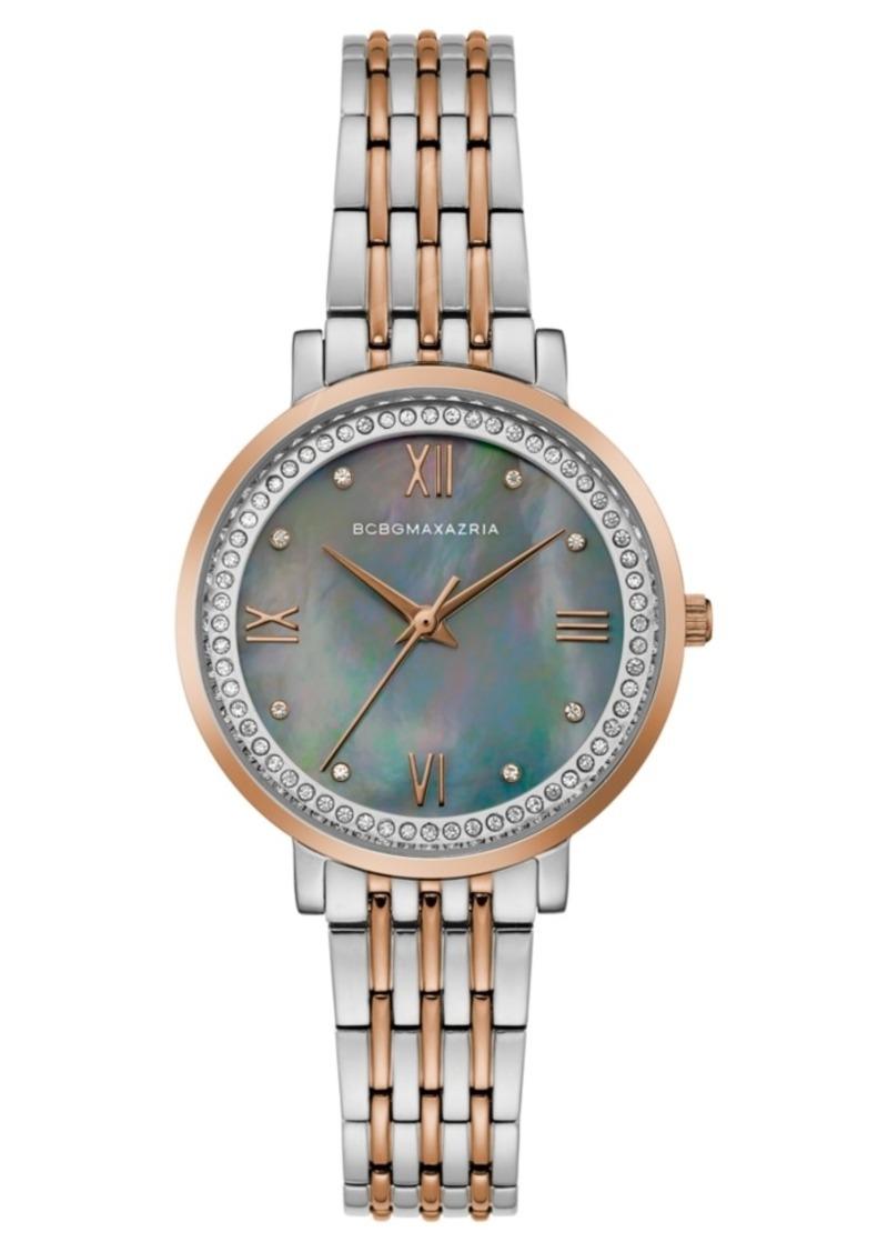 BCBG Max Azria Bcbgmaxazria Ladies Two Tone Rose GoldTone Bracelet Watch with Grey Mop Dial, 33mm
