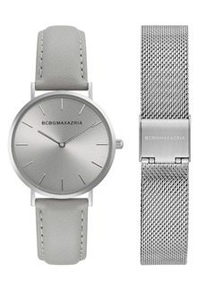 BCBG Max Azria Bcbgmaxazria Ladies Watch Box Set with Grey Leather Strap and Silver Mesh Bracelet, 36mm