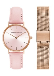 BCBG Max Azria Bcbgmaxazria Ladies Watch Box Set with Pink Leather Strap and Rose Gold Mesh Bracelet, 36mm