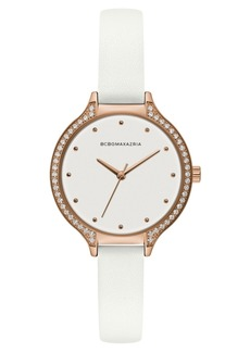 BCBG Max Azria Bcbgmaxazria Ladies White Leather Strap Watch with White Dial and Rose Gold Case, 34mm