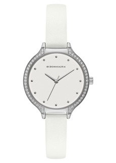BCBG Max Azria Bcbgmaxazria Ladies White Leather Strap Watch with White Dial with Silver Case, 34mm
