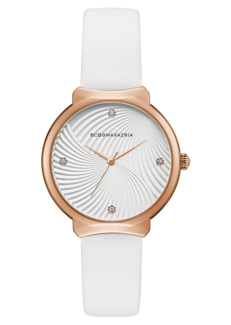 BCBG Max Azria Bcbgmaxazria Ladies White Leather Strap Watch with White Wave Textured Dial, 32mm
