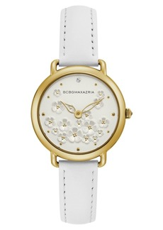 BCBG Max Azria Bcbgmaxazria Ladies White Leather Strap with Floral Dial and Gold Case, 34mm