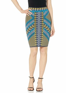 BCBG Max Azria BCBG Women's Mixed Geo Motif Pencil Skirt  L