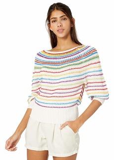 BCBG Max Azria BCBG Women's Mixed Stitch Striped Sweater  M