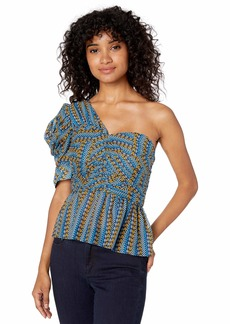BCBG Max Azria BCBG Women's Striped Pyramid One Shoulder Top  XS
