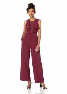 BCBG Max Azria BCBGMAXAZRIA Women's Raymee Woven Jumpsuit with Ruffle Front and Lace Detail  S