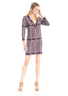 BCBG Max Azria BCBGMax Azria Women's Belle V-Neck Knit City Dress red/Multi L