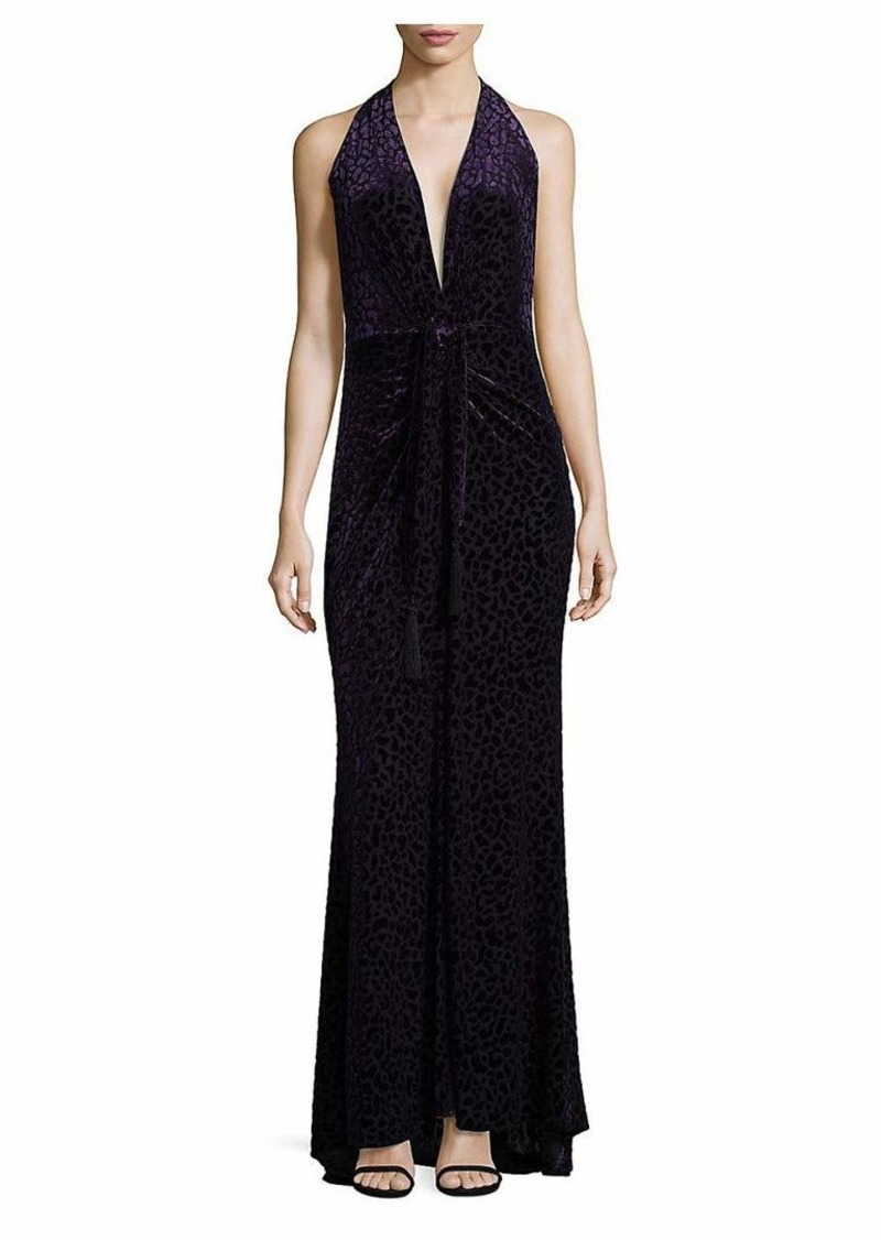 BCBG Max Azria BCBGMax Azria Women's Bijou Knit Dress with Crushed Velvet Animal Print  XS