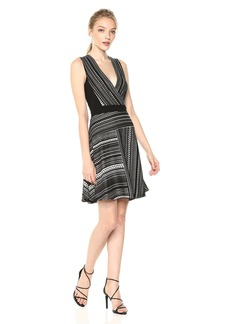 BCBGMax Azria Women's Brecklyn Faux-Wrap Jacquard Dress Black/Combo S