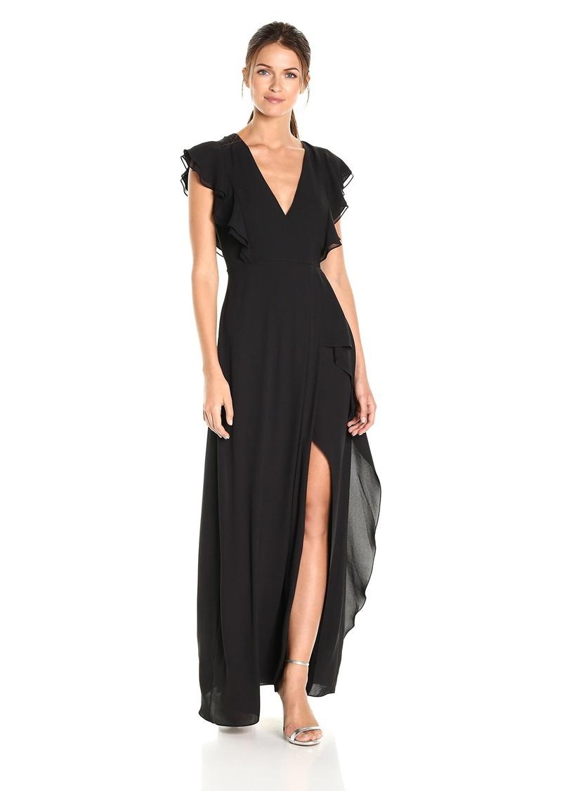 BCBG Max Azria BCBGMax Azria Women's Callie V-Neck Ruffled Woven Gown