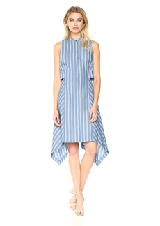 BCBG Max Azria BCBGMax Azria Women's Calpyso Woven Sleeveless Striped Dress Dark Blue ash S