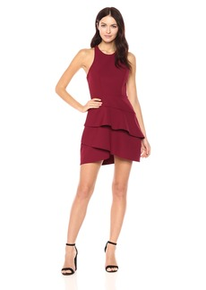 BCBG Max Azria BCBGMax Azria Women's Chesney Woven Dress with Tiered Ruffles deep Cranberry