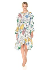 BCBG Max Azria BCBGMax Azria Women's Cicely Printed Woven Dress with Tie Sleeve Detail