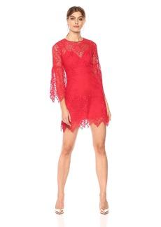 BCBG Max Azria BCBGMax Azria Women's Daniella Lace A-Line Dress Jewel red