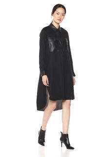 BCBG Max Azria BCBGMax Azria Women's Faux Leather-Trimmed Shirt Dress  L