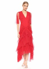 BCBG Max Azria BCBGMax Azria Women's Flocked Dot Asymmetric Ruffle Gown