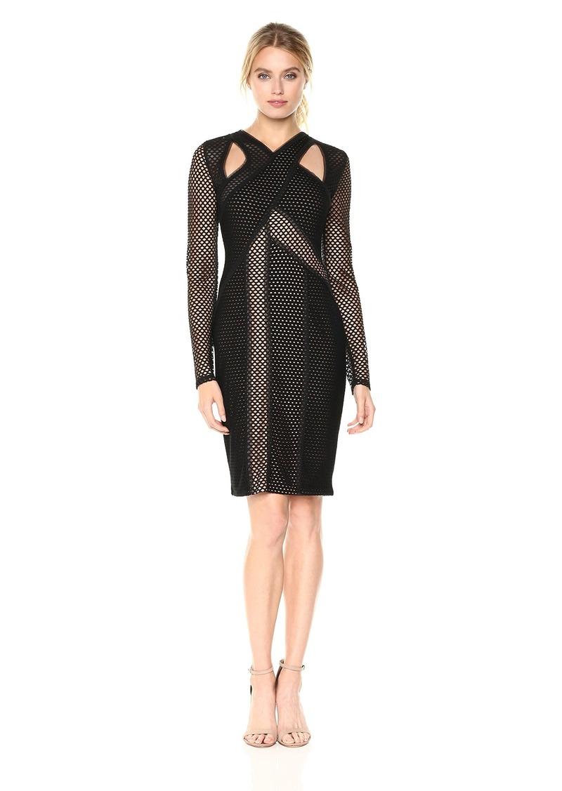 BCBG Max Azria BCBGMax Azria Women's Jaylynn Mesh Cutout Knit Dress  L