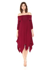 BCBG Max Azria BCBGMax Azria Women's Josanna Knit Off The Shoulder Dress deep Cranberry M