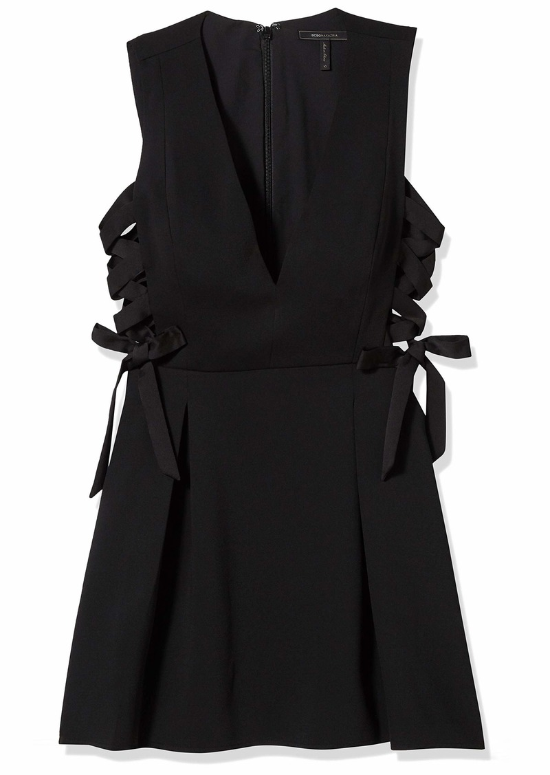 BCBG Max Azria BCBGMax Azria Women's Kalie Woven V-Neck Dress with Lace Up Sides