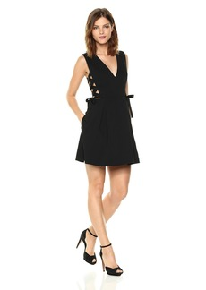BCBG Max Azria BCBGMax Azria Women's Kalie Woven V-Neck Dress with Lace Up Sides