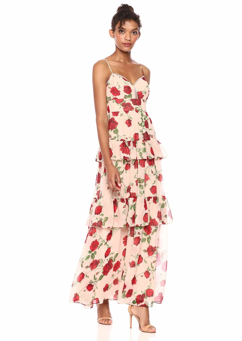 BCBG Max Azria BCBGMax Azria Women's La Rosa Tiered Maxi Dress Bare Pink-Medium