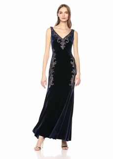 BCBG Max Azria BCBGMax Azria Women's Lace Applique Velvet Gown  M