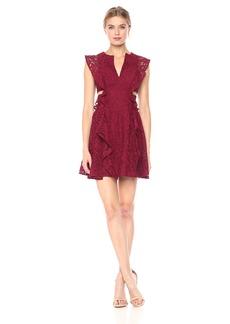 BCBG Max Azria BCBGMax Azria Women's Lydia Knit Lace Dress with Ruffles and Side Cutouts