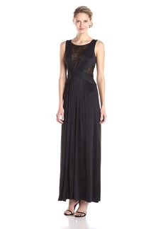 BCBG Max Azria BCBGMax Azria Women's Magdalena Long Draped Jersey Gown with Lace