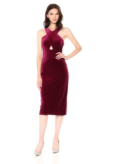 BCBG Max Azria BCBGMax Azria Women's Maren Knit Crushed Velvet Halter Dress  L