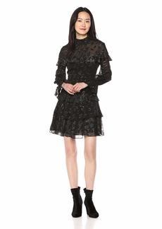 BCBG Max Azria BCBGMax Azria Women's Metallic Clip Dot Ruffle Dress