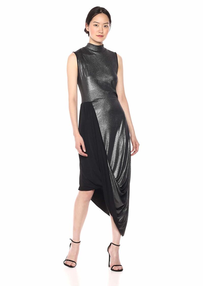 BCBG Max Azria BCBGMax Azria Women's Metallic Draped Turtleneck Dress  S