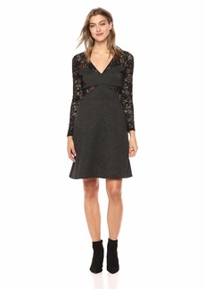 BCBG Max Azria BCBGMax Azria Women's Metallic Geo Stripe Lace Dress  M