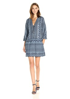 BCBG Max Azria BCBGMax Azria Women's Milana Laced Placket Woven Casual Dress  M