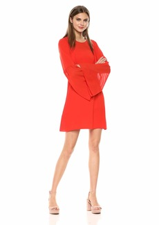 BCBG Max Azria BCBGMax Azria Women's Mixed Media Flared Dress Poppy red M
