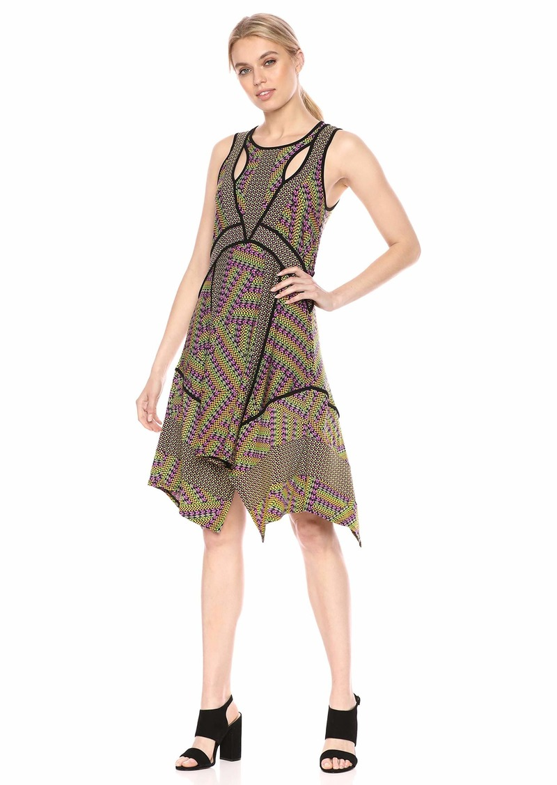 BCBG Max Azria BCBGMax Azria Women's Mixed Print Handkerchief Dress  L