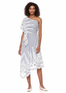 BCBG Max Azria BCBGMax Azria Women's One Shoulder Embroidered Stripe Dress