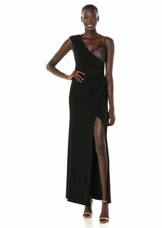 BCBG Max Azria BCBGMax Azria Women's One Shoulder Lace Inset Gown  XS