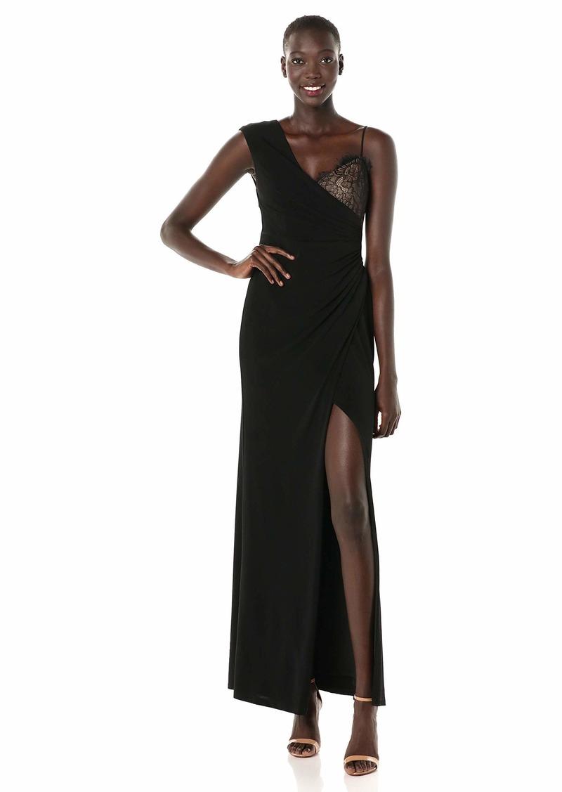 BCBGMax Azria Women's One Shoulder Lace Inset Gown  XS