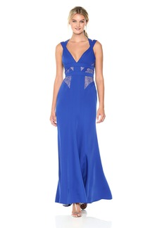 BCBG Max Azria BCBGMax Azria Women's Reese Sleeveless Woven Gown with Lace Inserts