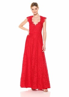 BCBG Max Azria BCBGMax Azria Women's Scalloped Lace Gown Burnt red