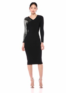 BCBG Max Azria BCBGMax Azria Women's Sequined Sleeve Bodycon Dress  S