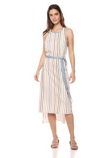 BCBG Max Azria BCBGMax Azria Women's Sleeveless Striped Wrap Dress with Crisscross Back  M