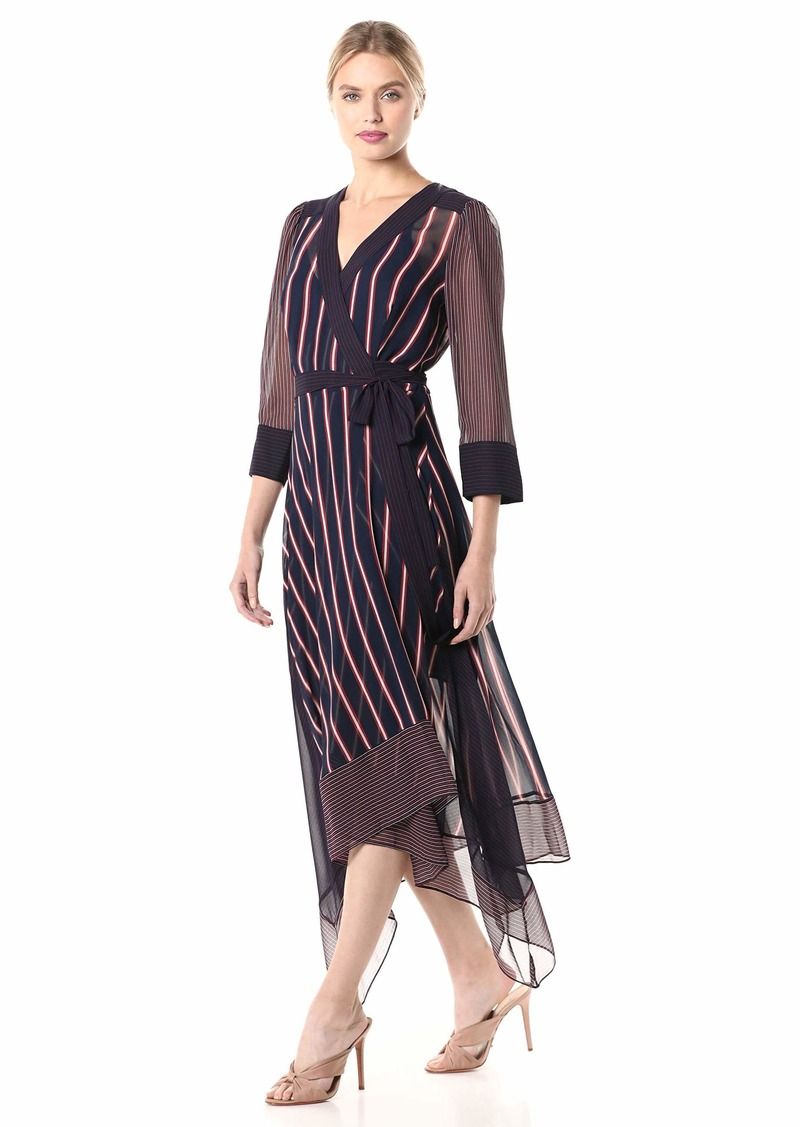 BCBG Max Azria BCBGMax Azria Women's Stripe Asymmetric Wrap Dress Pacific Blue-Valet XS