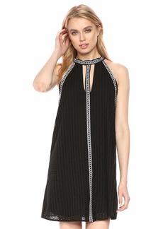 BCBG Max Azria BCBGMax Azria Women's Striped Eyelet Halter Dress  L