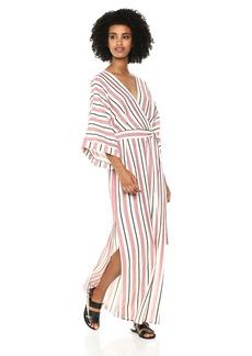 BCBG Max Azria BCBGMax Azria Women's Striped Faux-Wrap Maxi Dress  L
