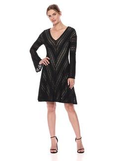 BCBG Max Azria BCBGMax Azria Women's Striped Stretch Lace a-Line Dress  M